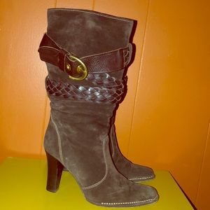 Coach Randie Brown Suede Belted Boots